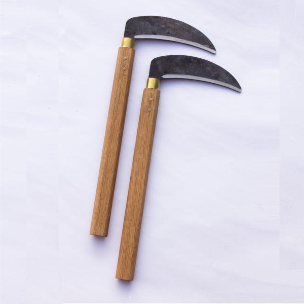 Custom kama with blackened blade, hand made in the UK